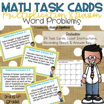Multiplication & Division Word Problems Task Cards