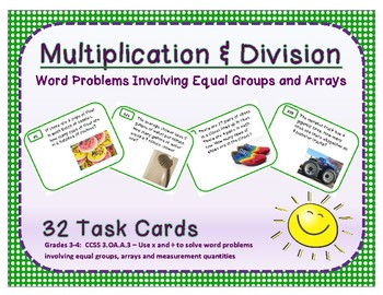 Multiplication & Division Word Problems with Equal Groups & Arrays