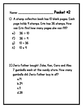 Multiplication, Division and Area Work Packet