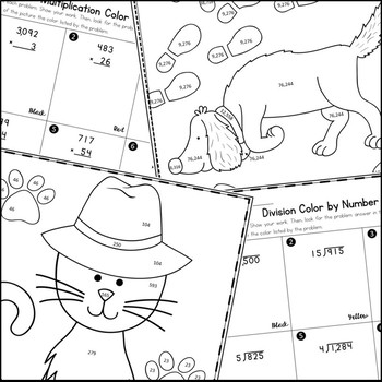 Multiplication, Division, and Decimal Operations Coloring Activities