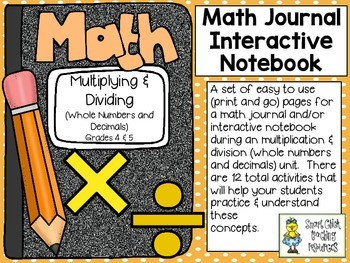 Multiplication & Division (grades 4 & 5) ~ Math Interactive Notebook Activities