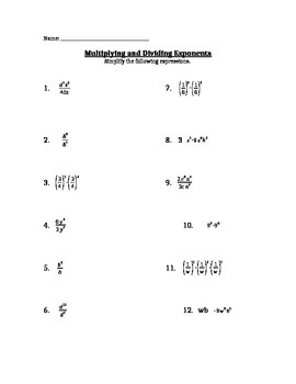 Multiplication & Division of Integer Exponent Worksheet