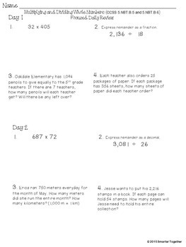Multiplication - Division - Whole Numbers - Focused Daily Review - 5th Grade