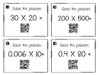 Multiplication & Division of Whole Numbers and Decimals Task Cards