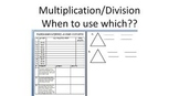 Multiplication Division - when to use worksheet/assessment