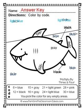 Color By Numbers Ocean Multiplication Dollar Deal