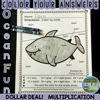 Color By Numbers Ocean Multiplication Dollar Deal