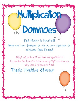 Multiplication Dominoes 0-12 Facts