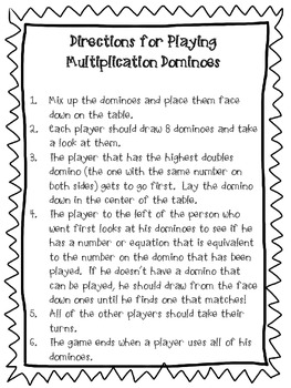 Multiplication Dominoes - CCSS Aligned- 3rd Grade - Basic multiplication facts