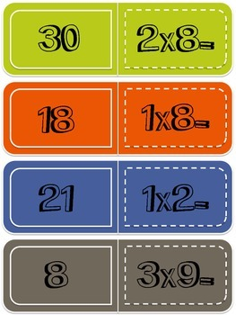 Multiplication Dominoes Math Center Game - with 1, 2, and 3 as Factors