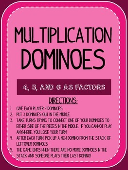 Multiplication Dominoes - 4, 5, and 6 as Factors