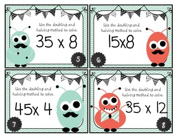 Multiplication: Doubling & Halving Task Cards