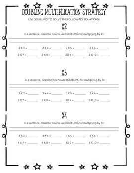 Multiplication Doubling Strategy Worksheet