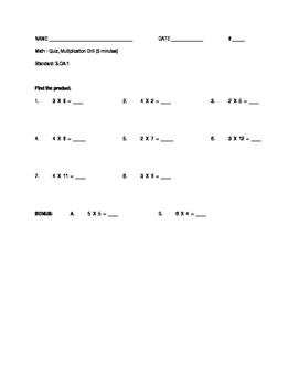 Multiplication Drill