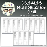 Multiplication Facts Beyond 12. *13, 14, 15 Facts Drill Minute Test