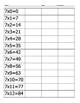Multiplication Drill and Quiz-7's