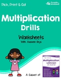 Multiplication Drill Worksheets, Fact Fluency Multiplying Practice Sheets