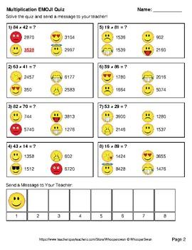 Multiplication Emoji Quiz (2-Digit by 2-Digit)