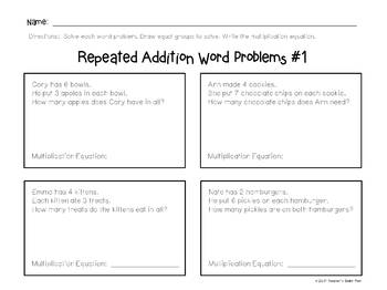 Multiplication - Equal Groups Task Card Strips & 10 Activity Pages