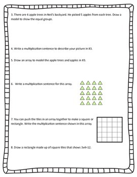Multiplication Equal Groups and Arrays CCSS 3.OA.1 Assessment