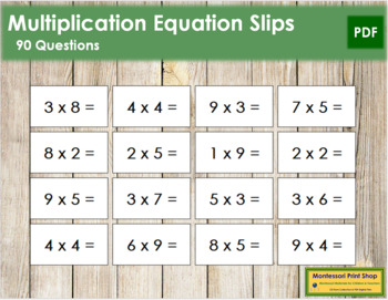 Multiplication Equation Slips