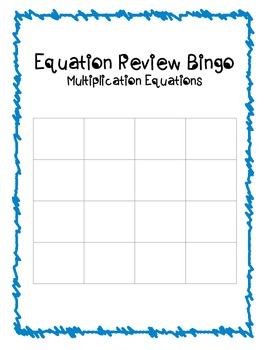 Multiplication Equations Bingo