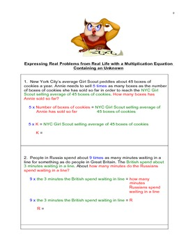 Multiplication Equations, Story Problems, & Solving Unknowns, CommonCore 4.OA.A2