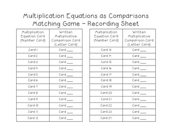 4.OA.1 - Multiplication Equations as Comparison Matching Games - Math Center