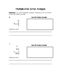 Multiplication Error Analysis Activity