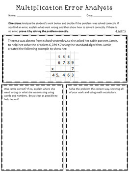 Multiplication Error Analysis - Standard Algorithm