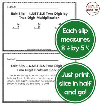 Multiplication Exit Slips - 4th Grade 4.NBT.B.5