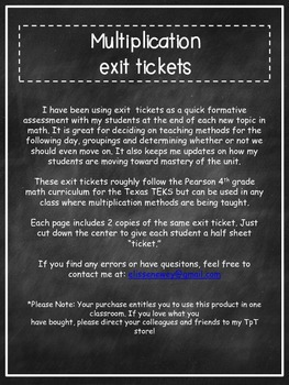 Multiplication Exit Tickets