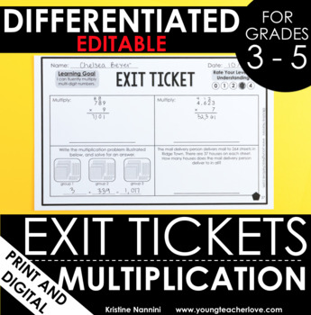 Multiplication Exit Tickets (Differentiated For Grades 3-5)