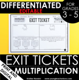 Multiplication Exit Tickets Differentiated Assessment Mult