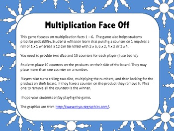 Multiplication Face Off (A Multiplication Game for 1 - 6)