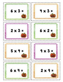 Multiplication Face Off! -Build your own pumpkin math center- {3.OA.C.7}