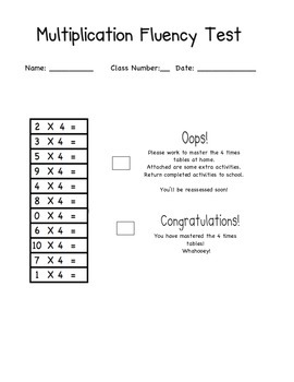 Multiplication Fact Assessment Tool