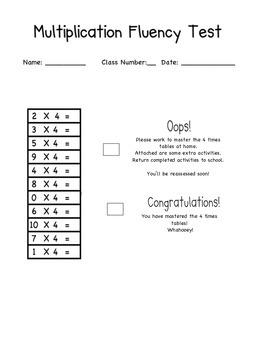 Multiplication Fact Assessment Tool