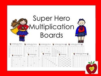 Multiplication Fact Boards (Super Hero)