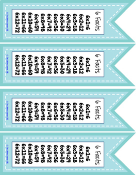 Multiplication Fact Bookmarks