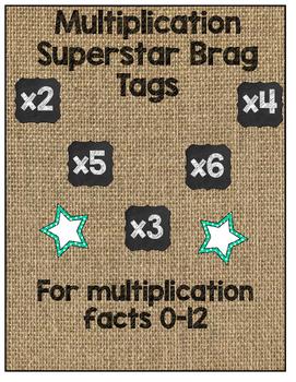 Multiplication Fact Brag Tags (Burlap and Chalkboard)