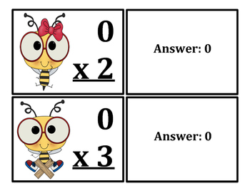 Multiplication Flash Cards Bee Themed (x0-x12)