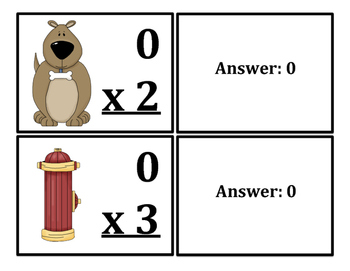 Multiplication Fact Cards Cats/Dogs Themed (x0-x12)