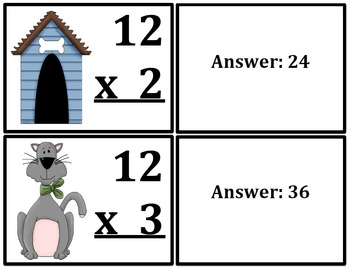Multiplication Flash Cards Cats & Dogs Themed (x0-x12)