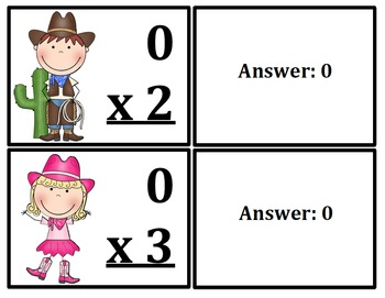 Multiplication Flash Cards Cowboy/Cowgirl Themed (x0-x12)