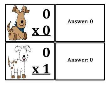Multiplication Flash Cards Dogs Themed (x0-x12)