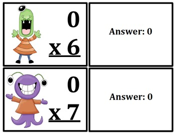 Multiplication Flash Cards Monster Themed (x0-x12)