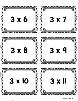 Multiplication Fact Cards Multiply by 0-12 with Numbers up to 12