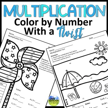 Multiplication Facts Practice - Color By Number Twist