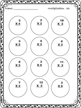 Multiplication Fact Drills Packet - 2's through 12's